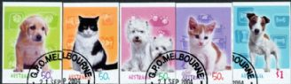 Aus SG2445-9 Cats & Dogs self-adhesives set of 5 from booklets (exSB172-5)